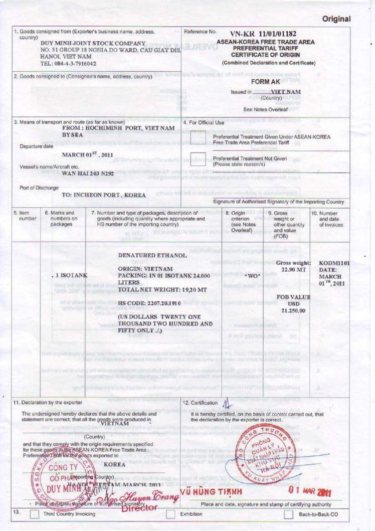 CO form AK cho hàng hóa xuất nhập khẩu Việt Nam-Hàn Quốc
